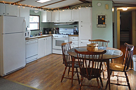 Kitchen of Helen's Place Rental at Scenic View Campground